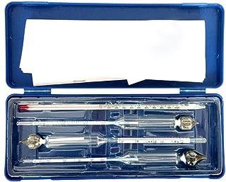 Bureze Set de 2 Alcoomètres + 1 vinomètre + 1 thermomètre en verre gradué pour mesurer la température et la teneur en alco...