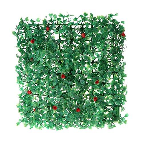 Ogquaton Acuario césped artificial con pequeña flor roja, pecera verde acuático para decoración del hogar, paisaje duradero y práctico
