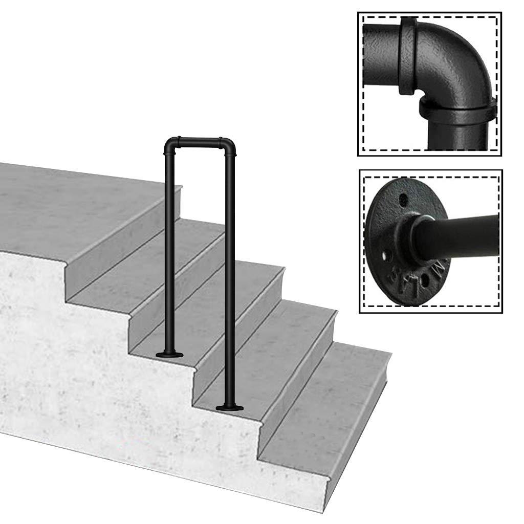 FS Pasamanos Arco, se Ajusta a 2 Pasos Negro Mate Forjado pasamanos del Hierro del Paso, barandilla de Escalera Exterior, Apoyabrazos de Apoyo con Equipo de Montaje (Size : 35cm/1.1ft): Amazon.es: Hogar