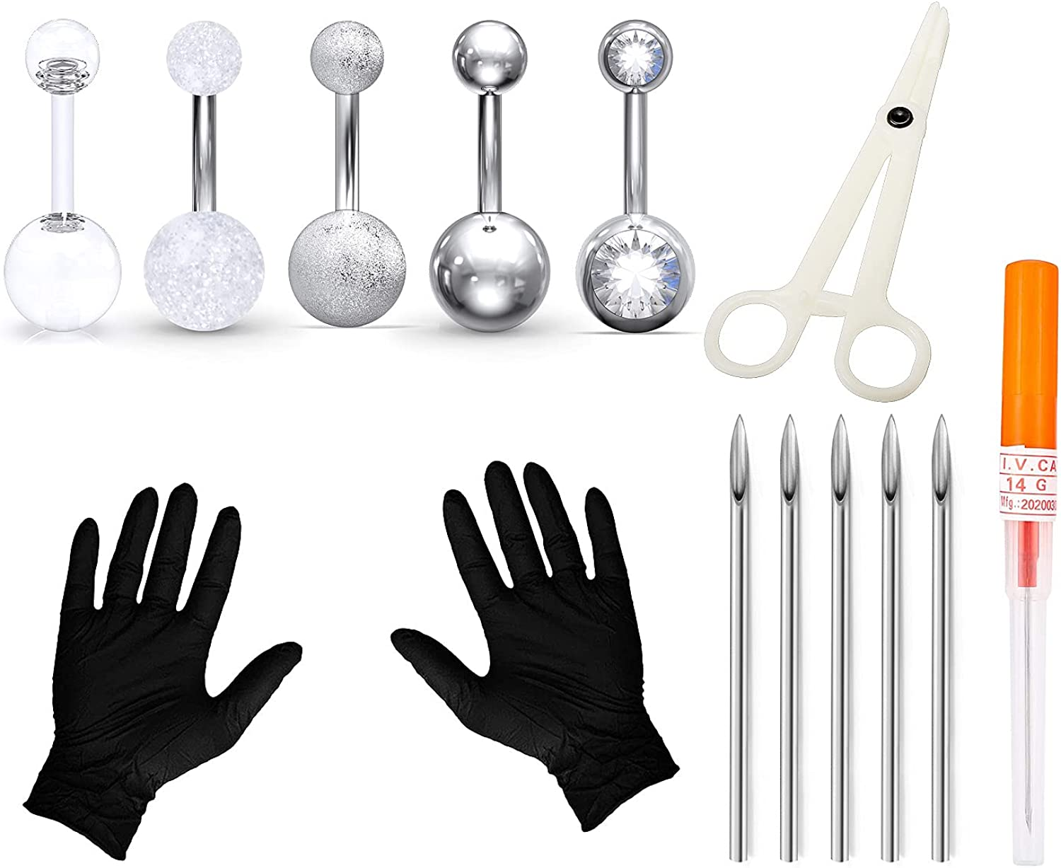 Tvalccoy belly button piercing Fashion Choice Piercing Needles kit Kit