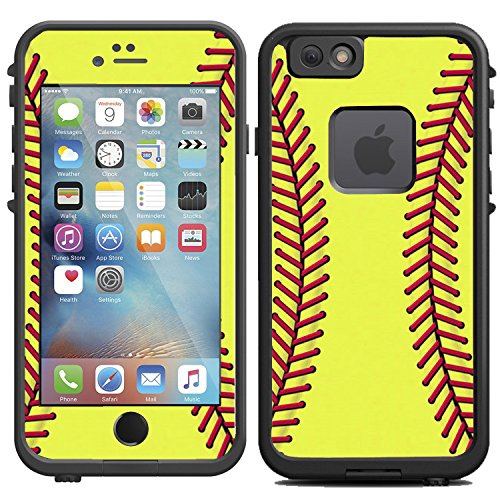 Teleskins Protective Designer Vinyl Skin Decals Compatible with Lifeproof Fre iPhone 6 / 6S Case - Softball Design - only Skins and not Case
