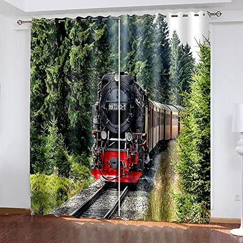 WAFJJ Art CortinaBosque y Tren Cortina y Cenefa, Tapiz de Dormitorio, Cortina India para balcón, decoración de habitación Tamaño: 234x229cm(An x Al)