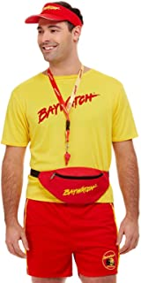 Smiffys Red Baywatch Kit (Visor, Bumbag & Whistle) for Men and Women, One Size