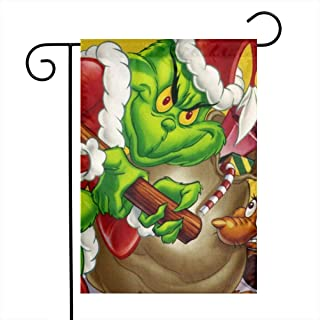 SARAH SCOTT The Grinch Stole Christmas Premium Material Garden Flag Seasonal Holiday Decoration Double Sided Outdoor Flags for Garden Yard Lawn 12