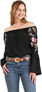 Umgee Women's Off The Shoulder Embroidered Bell Sleeve Top