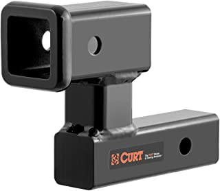 """CURT 45794 Raised Trailer Hitch Extender, Fits 2-Inch Receiver, Extends 5-1/4"""", 4-1/4-In Rise, Gloss Black Powder Coat"""