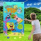 NIDEZON Spongebob Toss Games with 4 Bean Bags,Spongebob Party Games Fun Indoor Outdoor Games,Birthday Party Decoration Supplies