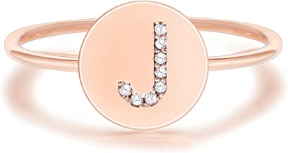 PAVOI 14K Rose Gold Plated Initial Ring Stackable Rings for Women   Fashion Rings