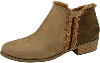 Wide Fit Low Cut Heeled Women Ankle Boots,Sunmoot-Shoes Ladies Fleece Pull-on Sneakers Suede Harness Western Booties