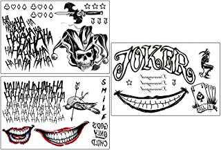 3 Sheets The Joker Temporary Tattoos from Suicide Squad,Tattoo Sticker Perfect for Halloween,Cosplay, Costumes and Party Accessories
