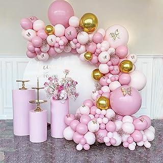 AYUQI Ballon Guirlande Kit Rose - 122 Pièces Décorations de Fête avec rose Macaron et Or Métallique, Ballon arche Kit pour...