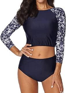 Women 2 Piece Swimsuit Long Sleeve Cutout Rashguards Print Surfing Suit by Lowprofile