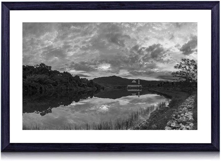 New Shipping Free GLITZFAS Art Print Black Large discharge sale Wood T Selangor River Framed(Malaysia