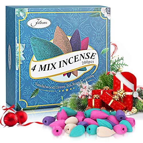Jeteven 200Pcs Conos de Incienso de reflujo,Conos Incienso 4 Aromas Naturales Usado para Quemador de...