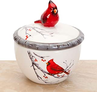 Bits and Pieces - Ceramic Cardinal Trinket Box - Keepsake and Jewelry Box - Home Décor