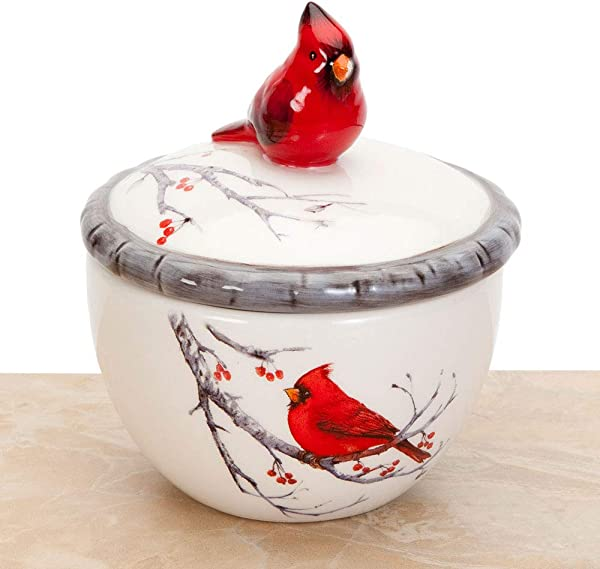 Bits And Pieces Ceramic Cardinal Trinket Box Keepsake And Jewelry Box Home D Cor