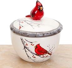 Bits and Pieces - Ceramic Cardinal Trinket Box - Keepsake and Jewelry Box - Home Décor