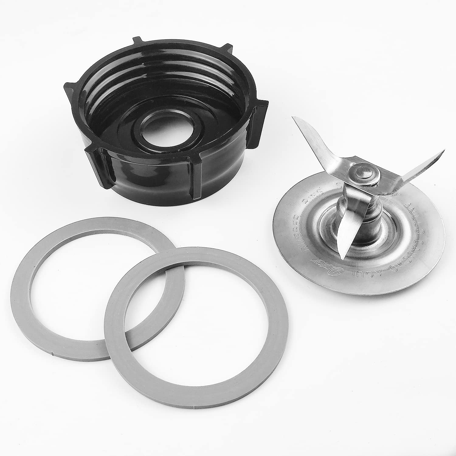 Blender Replacement Parts Compatible with Oster Blender Ice Blades ABSPlastics Base Stainless Steel Ice Blade and Two Rubber O Ring Seal Gasket,Compatible with Oster Osterizer Blender Accessories
