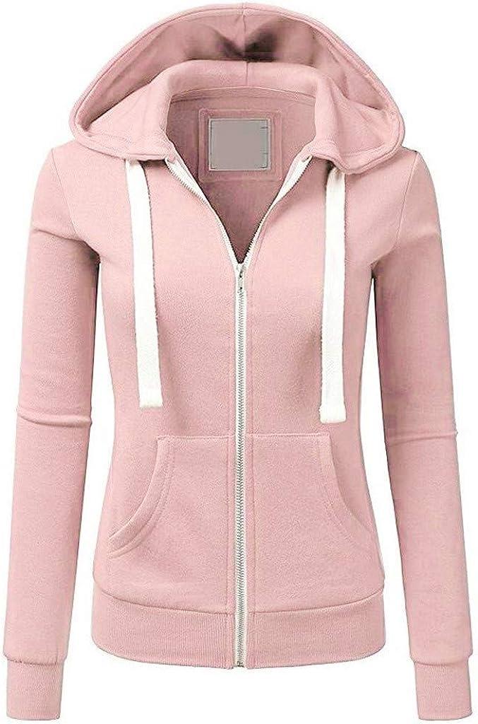 Afelkas Sweatshirt for Women Slim Fit Pockets Coat Casual Solid Color Long Sleeve Hoodie Zip Sport Drawstring Jacket