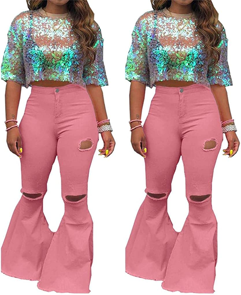 FUNEY Flare Jeans for Women Plus Size High Waist Classic Bootcut Denim Pants Oversized Skinny Ripped Bell Bottom Jeans