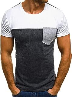 Camisetas Hombre Lanskirt Camisas de Manga Corta con Cuello Redondo y Estampado Smiley Tops de Verano Elegante Polos de BáSica Camiseta para Hombres