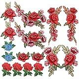 Homgaty Parches bordados de flores de rosas, 16 piezas, con encaje, tela floral, para coser sobre bordado, diseño de parche para ropa, vaqueros, chaquetas, bolsas.