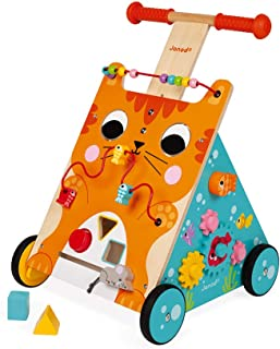 Janod Multi-Activities Adjustable Height Wooden Cat Baby Walker for Learning to Walk – Sit-to-Stand Push Toy with Accessor...