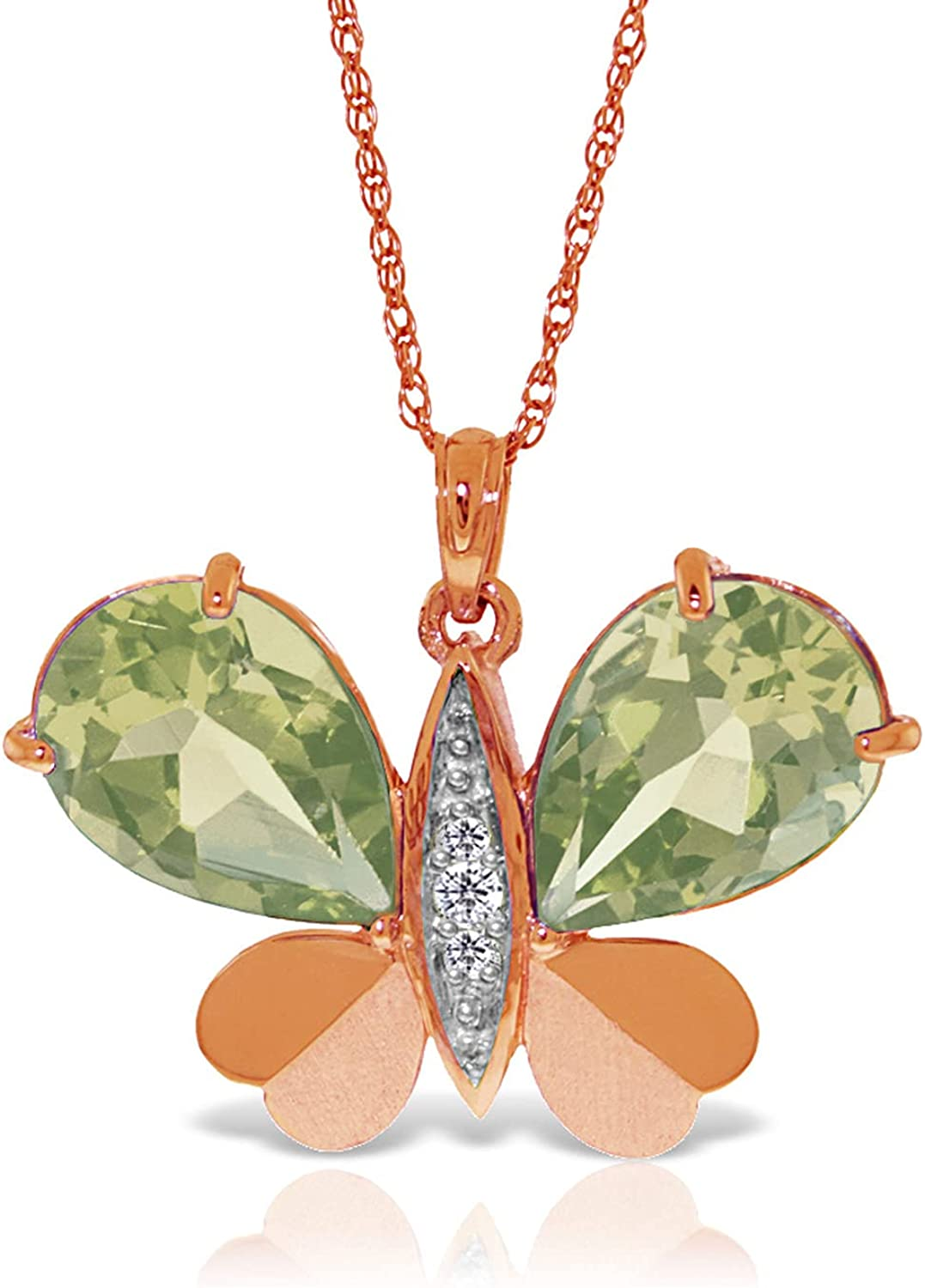 Galaxy Selling and selling Gold GG 6.6 CT. Necklace Rose Butterfly Selling rankings 14K Natural