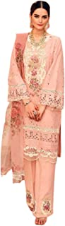 Peach Embroidered Pure Cotton Indian Muslim Women Wear Straight Pant Salwar Kameez Bollywood Designer Suit 6816
