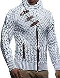 Leif Nelson LN5340 Men's Knit Zip Cardigan; Size M, Ecru-Grey by
