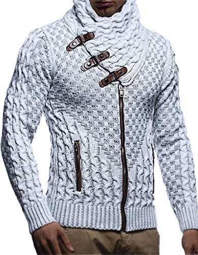 Leif Nelson Herren Strickjacke mit Reissverschluss Schwarze Jacke für Winter Sommer Übergangsjacke Hoodie Winterjacke für Männer Freizeitjacke Slim Fit LN5340 L Ecru-Grau
