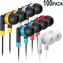 Bulk Earbuds Headphones Wholesale Earphones - Keewonda 100 Pack Disposable Ear Buds Bulk Multi Colored Headphones for School Classroom Students