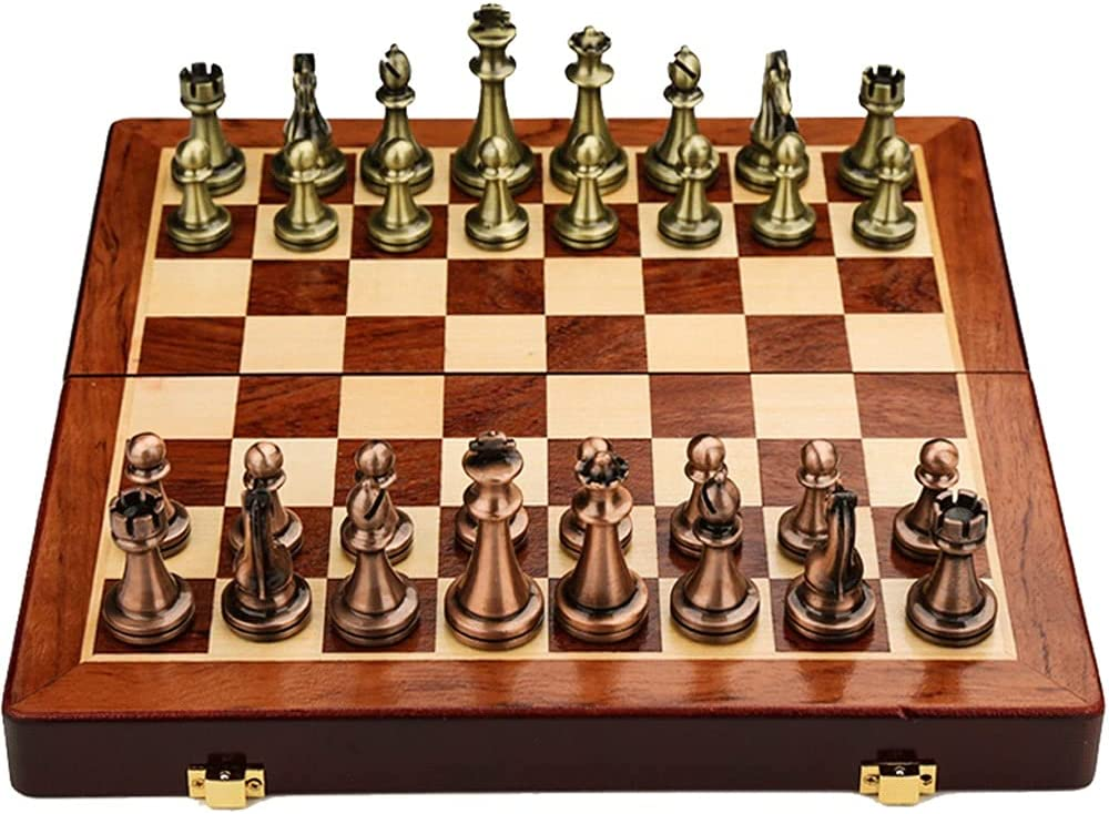 sale Chess Set Metal Credence Portable Wooden Box Folding In Storage