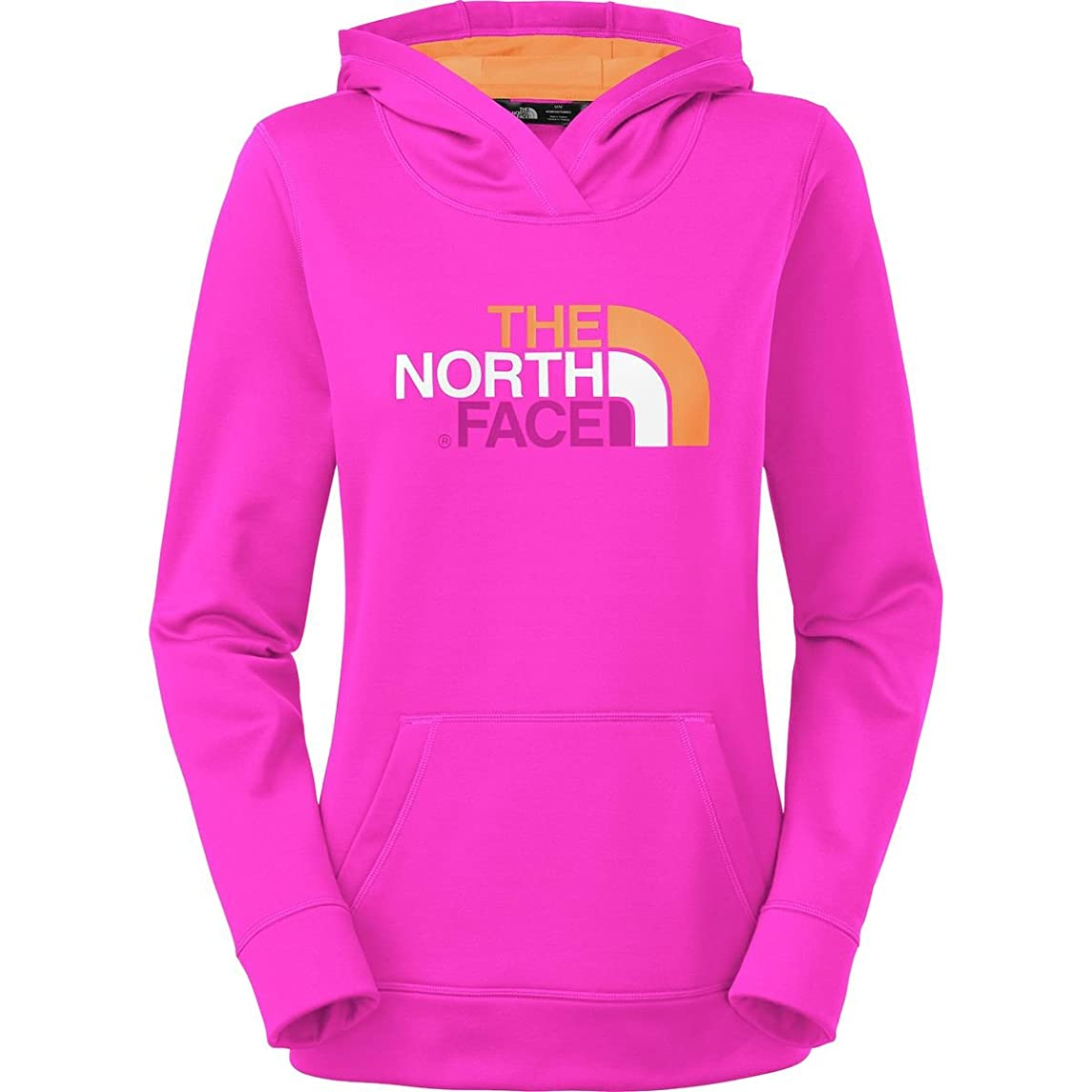 The North Face Fave Pullover Hoodie Womens Luminous Pink/Impact Orange Multi L