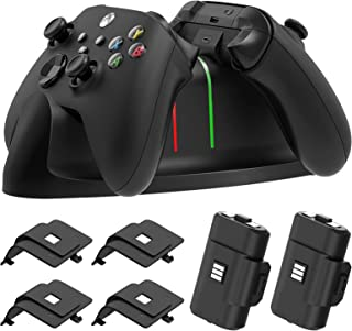 Charger Stand for Xbox Series X/S, Xbox-one/S/X/Elite Controller,MENEEA Fast Dual Charging LED Indicator Dock Station Acce...