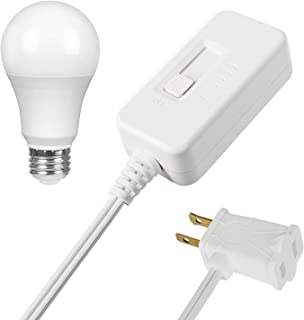 DEWENWILS Table Top Inline Dimmer Switch and Warm Dimmable LED Light Bulb Set for Lamp, Full Range Slide Control, 6.6 ft Extension Cord, UL Listed, White
