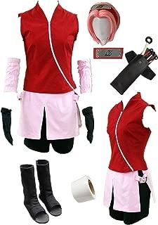 US Size Shippuden Haruno Sakura Anime Cosplay Costume Halloween Full Set of Clothing