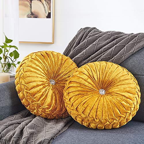 HOMBYS 2 Pack Round Throws Pillow Halloween Pillows Handmade Solid Color Pleated Round Pillow Velvet Pumpkin Throw Pillows Decorative for Bed Living Room Sofa Couch (Yellow)