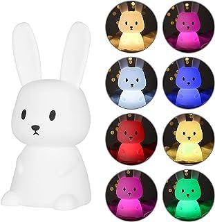 otutun Veilleuse Portable Enfant , Veilleuse Bébé Lapin en Silicone lumière multicolore , Lampe Nuit Tactile USB Rechargea...