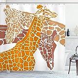 ABAKUHAUS Giraffe Duschvorhang, Wildtiere in Afrika, mit 12 Ringe Set Wasserdicht Stielvoll Modern Farbfest & Schimmel Resistent, 175x180 cm, Orange Weiß Braun