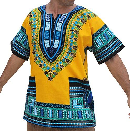 RaanPahMuang Bright Coloured African Dashiki Cotton Shirt Very Big Plus Sizes, 7X-Large, Yellow - Multi-Coloured