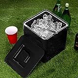 bar@drinkstuff Secchiello per il ghiaccio da 10 litri, in plastica quadrata nera con doppi...