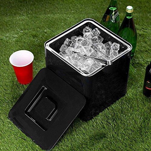 Cubo cuadrado para hielo de color negro, de 10 litros y doble pared de plástico