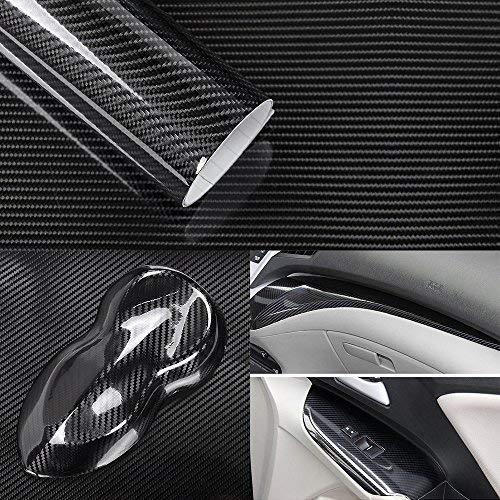 5D Hochglanz Carbon Folie Klebefolie Blasenfrei 3D Formbar Luftkanaltechnik Carbonfolie 30 x 150 cm