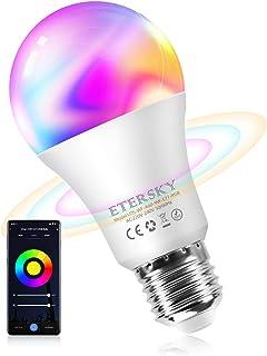 Alexa Bombilla Wifi 9W Equivalente a 60W, Etersky Bombillas Inteligente Alexa Compatible con Alexa y Google Home, Bombilla LED E27 RGBW 2700-6500K, 900LM Luz Regulable, Lámpara Wifi Multicolor(1 Pcs)