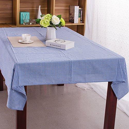 GFYWZ Tissu de Coton Bleu Grille Fine Table carrée, 100 * 140cm