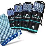 ONE SANTI Reisehandtuch - Unsere Bambus Handtücher als Top Backpacker Zubehör - Reisehandtuch schnelltrocknend & kompakt - Travel Towel (Blau M)