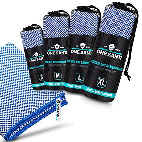 ONE SANTI Reisehandtuch - Unsere Bambus Handtücher als Top Outdoor Handtuch - Reisehandtuch schnelltrocknend & kompakt - Travel Towel (Blau S)