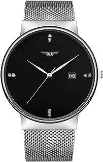 GUANQIN الفولاذ المقاوم للصدأ شبكة حزام ساعة كوارتز العصرية التناظرية رجل الأعمال حجر الراين ساعة التخطيط