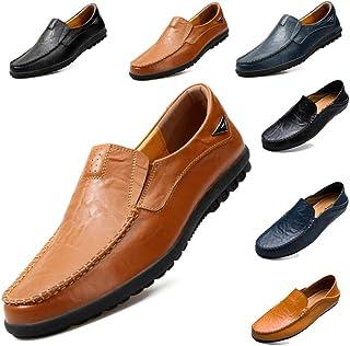 [シェリーラヴ] メンズ ビジネスサンダル ドライビングシューズ 紳士靴 本革 スリッポン デッキシューズ ローカット フラット 通気性 歩きやすい 耐磨耗性 軽量